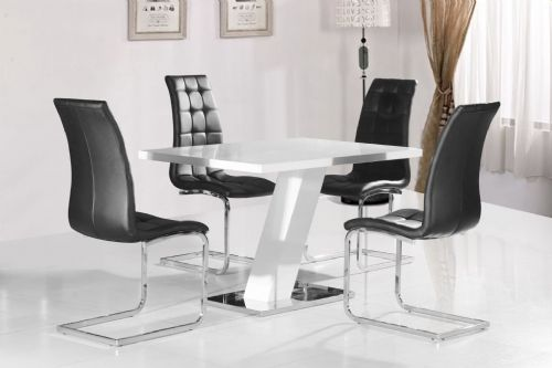 Grazia White High Gloss Contemporary Designer 120 cm Compact Dining Table ONLY / 4 White / Black Chairs